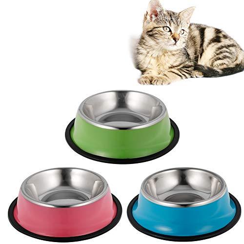 Xinstroe 3 Stück Cat Bowl, Edelstahl Cat Food Bowl rutschfeste Schüssel für Katzen Small Dogs Food Water Bowl