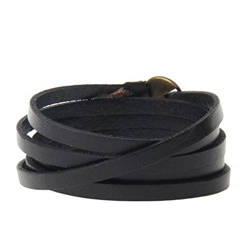 MagiDeal Lederarmband Armband - Unisex Schmuck - Wickelarmband mehrschichtige Armband Surfer - Schwarz