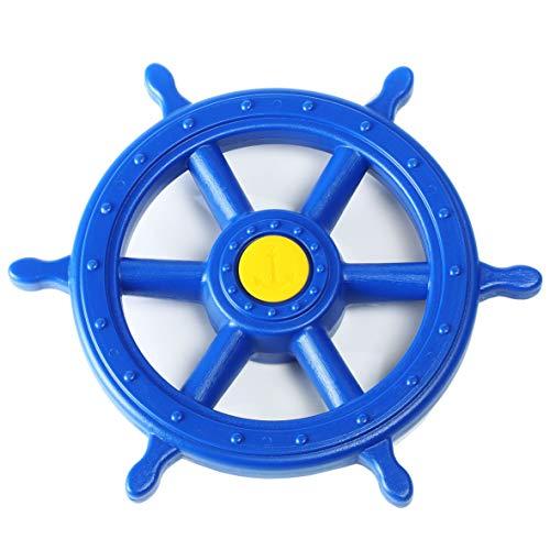 Gartenpirat Steuerrad Schiff XXL Kunststoff blau Spielturm Zubehör für Kinder