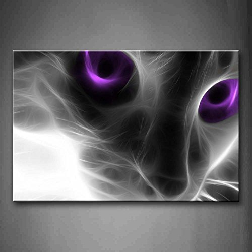 Firstwallart Cat With Purple Eyes Wall Art Painting Pictures Print On Canvas Animal The Picture For Home Modern Decoration