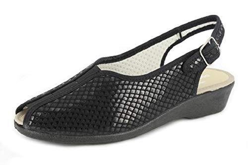 Zapato mujer DOCTOR CUTILLAS, material ajustable negro, elastico central. Mod.6305 (Negro, numeric_40)