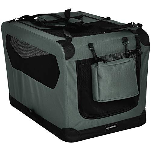 AmazonBasics - Hochwertige Haustier-Transportbox, faltbar, weich - 76 cm, GRAU