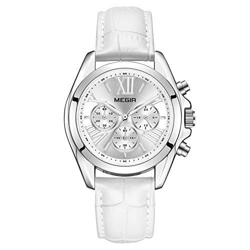 Reloj Mujer Reloj de Pulsera para Mujer (Cuarzo, Resistente al Agua, Correa de Piel auténtica) (2114 Blanco)