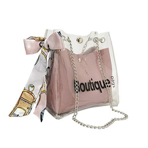 TENDYCOCO Geleebeutel Transparent Kristall Umhängetasche Crossbody Umhängetasche mit Band Dekor Frauen Sommer Handtasche (Rosa)