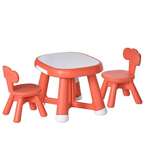HOMCOM Conjunto de Mesa y 2 Sillas Infantiles Escritorio con Pizarra Blanca Multifuncional para Niños de +12 Meses 64,4x52x45,6 cm Rojo Coral