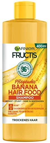 Garnier Fructis Hair Food Shampoo, Pflegende Banana, vegane Formel, für trockenes Haar, 400 ml