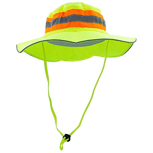 ROCKLINE Reflective Safety Bucket Cooling Ranger Hat Adjustable High Visibility Protective Boonie (Yellow)