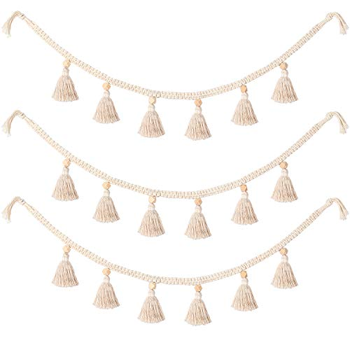 WILLBOND 3 Pieces Macrame Woven Tassel Garland Cotton Tassel Garland Backdrop Decorative Wall Hangings for Boho Home Nursery Room Decor (White)
