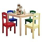 GOPLUS 5 TLG. Kindersitzgruppe, Kindertisch mit 4 Stühlen, Kindersitzgruppe Kiefer, Kinderstuhl & Tisch Holz, Sitzgruppe für Kinder, Sitzgruppe Kinderzimmer, Vorschüler Kindermöbel (Modell 1)