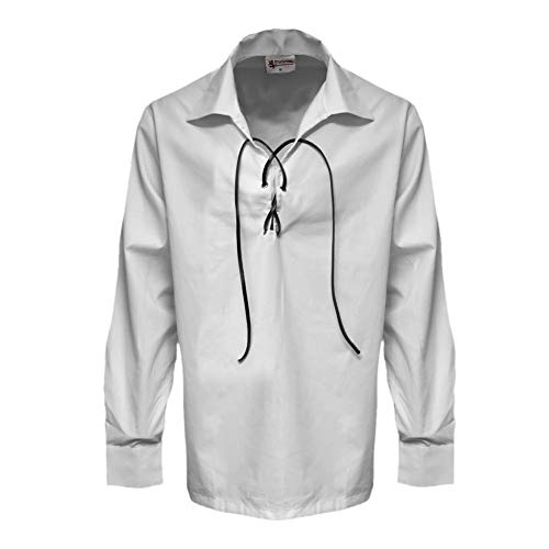 Tartanista - Chemise Ghillie pour homme - style Jacobite - blanc - M