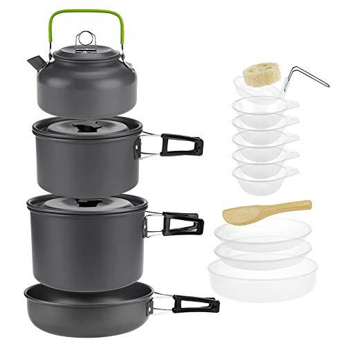 Hainice Camping - Juego de accesorios de camping con hervidor de agua portátil para viaje de camping de 4 a 5 personas, 15 unidades, color negro