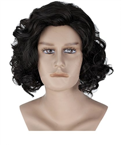 Halloween Costume Jon Snow Men Cosplay Perruque Black Short Curly Wavy Cheveux accessoires