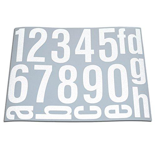 Baby-Sicherheits-Reflektor Hausnummern Aufkleber Folien Set Nummern, Ziffern & Buchstaben zum Aufkleben (reflektierend oder matt) (weiß-Reflex)