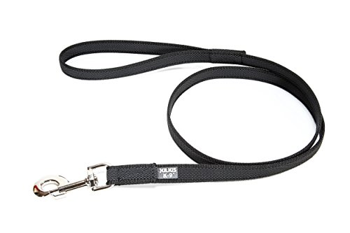 Julius-K9, 216GM-S2 Color & Gray Gumierte Leine Schwarz-Grau 20mm*2 m mit Schlaufe, max. für 50 kg Hunde