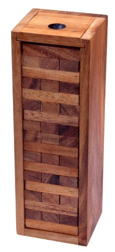 LOGOPLAY Wackel Turm Gr. XL - 30 cm Höhe - Condo - Holzturm - Geschicklichkeitsspiel - Gesellschaftsspiel aus Holz