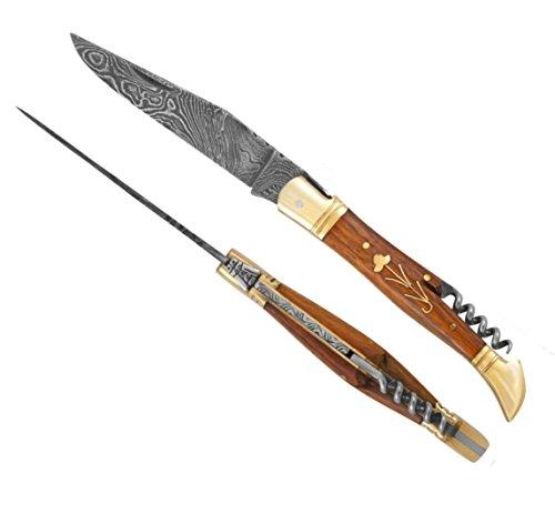 Laguiole 5272 12cm Closed Artisan Rosewood & Brass Handle Camping Messer,Jagdmesser Damaststahl Messer, Fischmesser,Taschenmesser