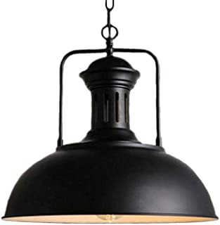 2Buy One Vintage Industrial Metal Single Head Pendant Light Bowl Shade Pendant Light with Adjustable Chain(Black)