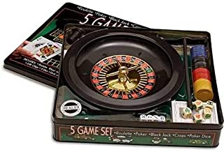 5 Game Set - Roleta na Lata - Kit 5 Jogos Roulette + Poker + Black Jack + Craps + Poker Dice - 33cm -