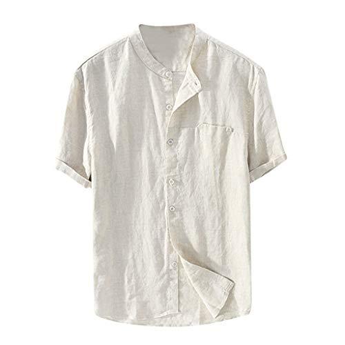 Europäische und amerikanische Hemden Herren kurzärmelige lose Sommer dünne Abschnitt atmungsaktive Baumwolle und Leinen Stehkragen Hemd Herren Strand Freizeithemd