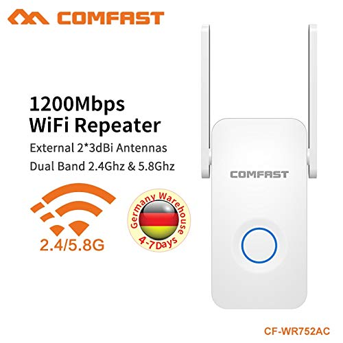 COMFAST 5.8G Dual Band Wireless Extender Signal Amplifier AC Access Point WiFi Extender 1200Mbps AC WiFi Repeater CF-WR752AC