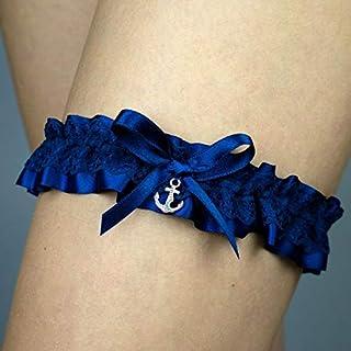 Giarrettiera matrimonio sposa biancheria intima regali de nozze addio al nubilato ancora blu argento