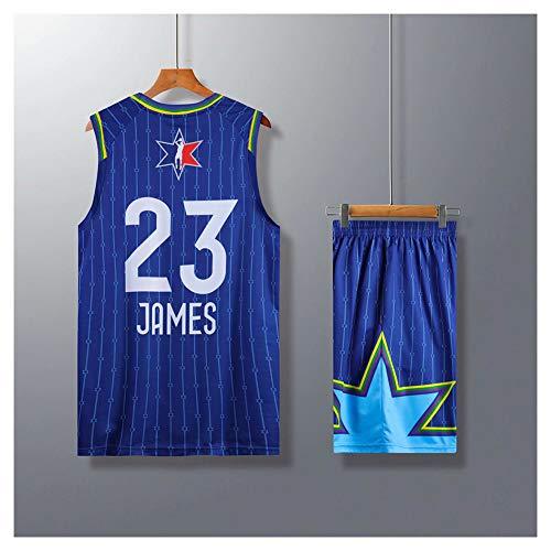James # 23 All-Star Blue Basketball Trikot für Männer, College Basketball Trikot Trägershirt Fan Kleidung Sportswear T-Shirt Trikots (L-5XL)-L