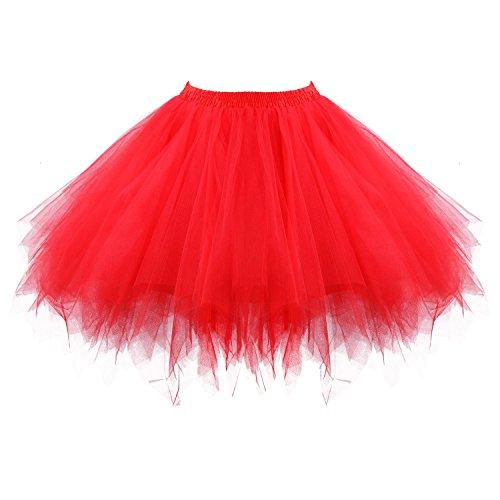 Honeystore Damen's Tutu Unterkleid Rock Abschlussball Abend Gelegenheit Zubehör Rot
