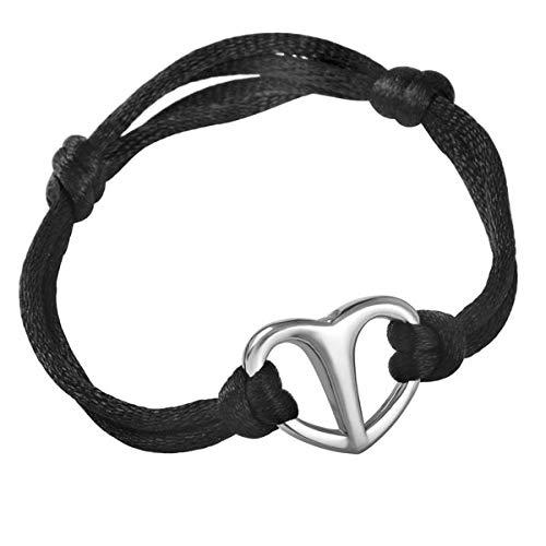 KBFDWEC Pulsera de cremación de Cuerda Negra con Joyas de Cenizas de urna de corazón de Acero Inoxidable Brillante Brazalete expandible Ajustable