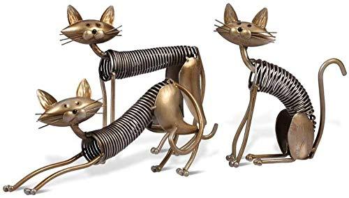 ZHIFENGLIU Metallfigur Eisen Kunstdekoration Katzenform Handwerk Kunsthandwerk Figur Kunstdekoration Moderne Hauptdekoration Ornament-3 Stück (a + b + c)