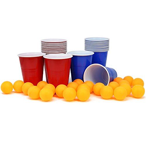 com-four® 48-teiliges Beer Pong Set, Bier Pong Trinkspiel mit 24 Bechern und 24 Bällen (048-teilig Becher+Bälle)