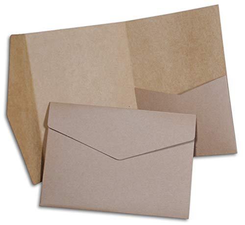 Pocketfold Hochzeit Einladungskarten B6 aus Kraftpapier 20 Stück (mit Umschlägen)