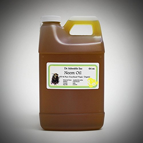 Neem Oil Organic Pure Cold Pressed by Dr. Adorable 64 oz/2 Quarters