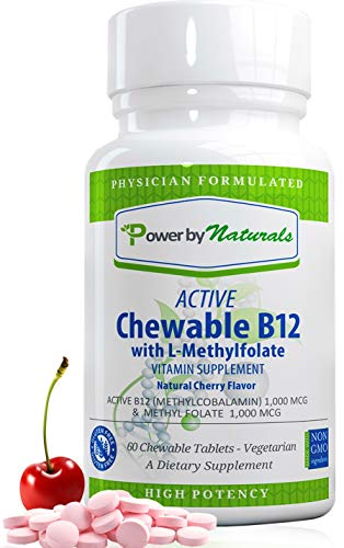 Power By Naturals Active Chewable B12 with L-Methylfolate (5 MTHF) Dr Formulated – Vitamin B12+Methyl Folate Quatrefolic – Methylation for Mthfr Support Supplement (Cherry Flavor) Non-GMO, (60 Pills)