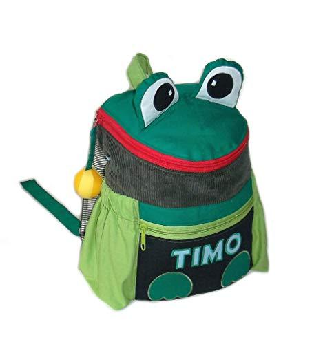 Kinderrucksack Frosch mit Namen Kindergartenrucksack Kleinkinder-Rucksack handgefertigt Reißverschluss Volumen ca. 5 Liter Maße: 22 x 10 x 22/26 cm (B/T/H) Material Baumwolle