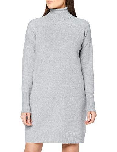 VERO MODA Damen Vmbrilliant Rollneck Dress Ga Noos Kleid, Light Grey Melange, XL EU