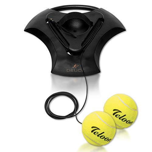 Tennis Training Self Trainer Pro Tennis Equipment for Tennis Sports Training – Includes 2 Balls 2 Elastic Cord and Weighted Base  Enhance Cardio Stamina Quickness and More  Patent Pending