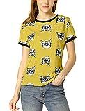Allegra K Women's Short Sleeve Contrast Cartoon Cat Pet Print Tee Ringer T-Shirt Tops Large Yellow