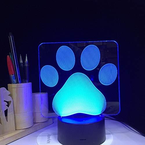 Cute Dog Paw Pet Animal Footprints 3D LED Acrílico Luz de noche Niño Bebé Guardería Dormitorio Clínica Aseo Oficina USB Lámpara de mesa Regalo para niños Decoración para el hogar