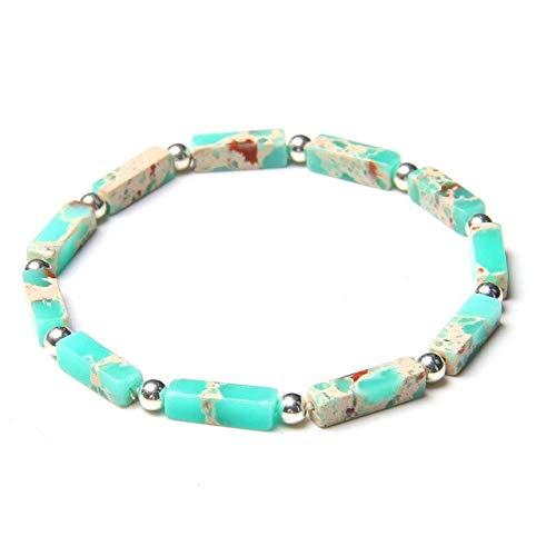 Lapislázuli pulsera para hombres natural pulido rectángulo piedra pulseras color plata cuentas redondas encanto brazalete mujeres joyería
