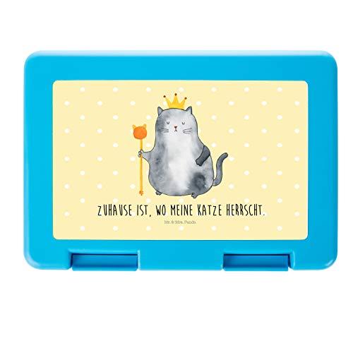 Mr. & Mrs. Panda Brotbox, BPA-frei, Brotdose Katzen Koenig mit Spruch - Farbe Gelb Pastell