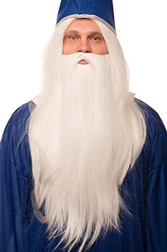 Zauberer Peruecke in weiß im Set mit weißem Bart fuer Herren & Damen Magier Hexer Gandalf Merlin Fasching Karneval