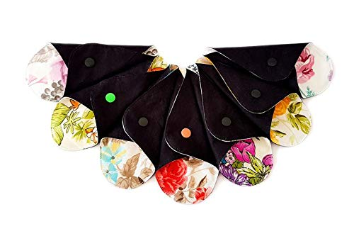 Lilind® 7 Pack Tanga Slipeinlagen, Schwarz Wiederverwendbares Bio-Tuch, Extra dünn, Waschbare Pads, Zero Waste, 100{9c2a471ef6db5cf1f8a25e2c97060f6070c48e263c5646a50ed7233850240299} Baumwolle, Zufällige Blumen