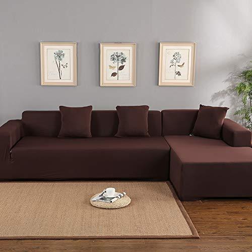 Dioche - Funda de sofá esquinera elástica con chaise longue de 3 + 2 plazas - Funda de sofá con chaise longue a la izquierda/derecha confeccionada en poliéster - Fácil de limpiar