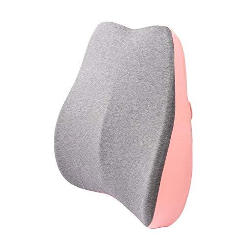 TWW Cojín De Espuma De Memoria Simple Oficina Respaldo De La Cintura Silla Almohada Lumbar Transpirable Mujeres Embarazadas Almohada para El Hogar Cómoda De Cuatro Colores Opcional,Rosado