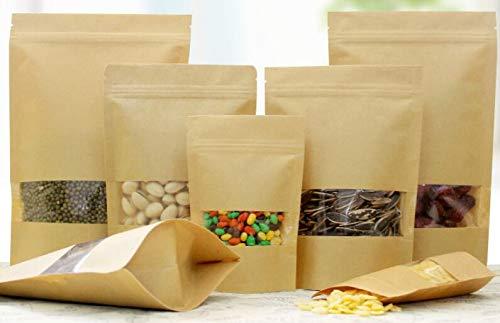 NCONCO 100 sacchetti in carta kraft con chiusura a zip, per conservare alimenti e spuntini