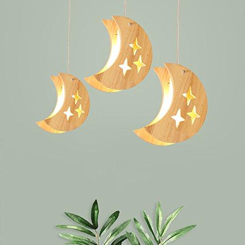 Lustre de lune d'étoile de chambre d'enfants, lustre mené de lampe en bois solide de style japonais (edition : 3 stars moon)