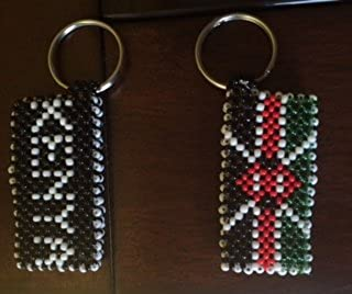 Jackielyna's Kenya Flag Beaded Keyring/Keychain