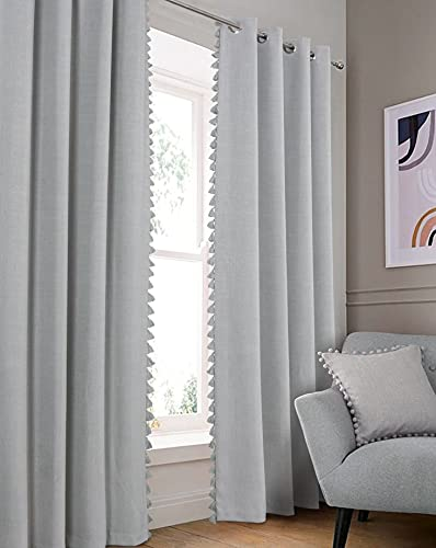 Always4u - Cortina opaca de lino con flecos y pompones, cortina de salón con ojales, aislante contra el frío, decoración para la cocina, dormitorio, moderna, 140 x 260 cm, lote de 2 unidades