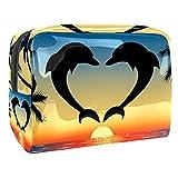 Bolsa de Maquillaje Atardecer con Delfines Neceser de Cosméticos y Organizador de Baño Neceser de Viaje Bolsa de Lavar para Hombre y Mujer 18.5x7.5x13cm