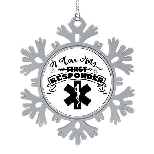 "5cm 2"" Snowflake Christmas Ornaments I Love My First Responder Metal Snowflake Keepsake Christmas Tree Hanging Decoration Winter Wonderland Xmas Holiday Party"